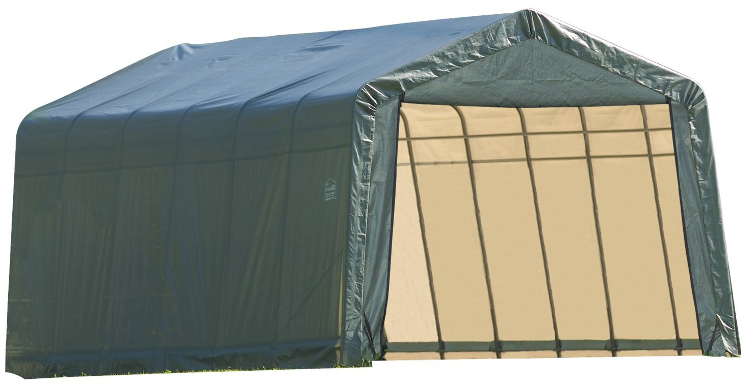 Peak Style Shelter, 12'x20'x8', Green Cover