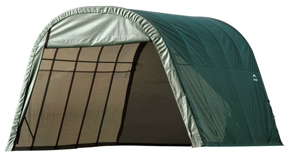 Round Style Shelter, 13'x20'x10', Green Cover