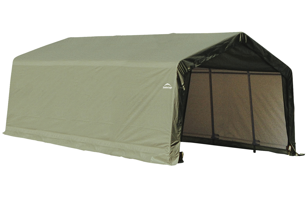 Peak Style Shelter, 13'x20'x10', Green Cover