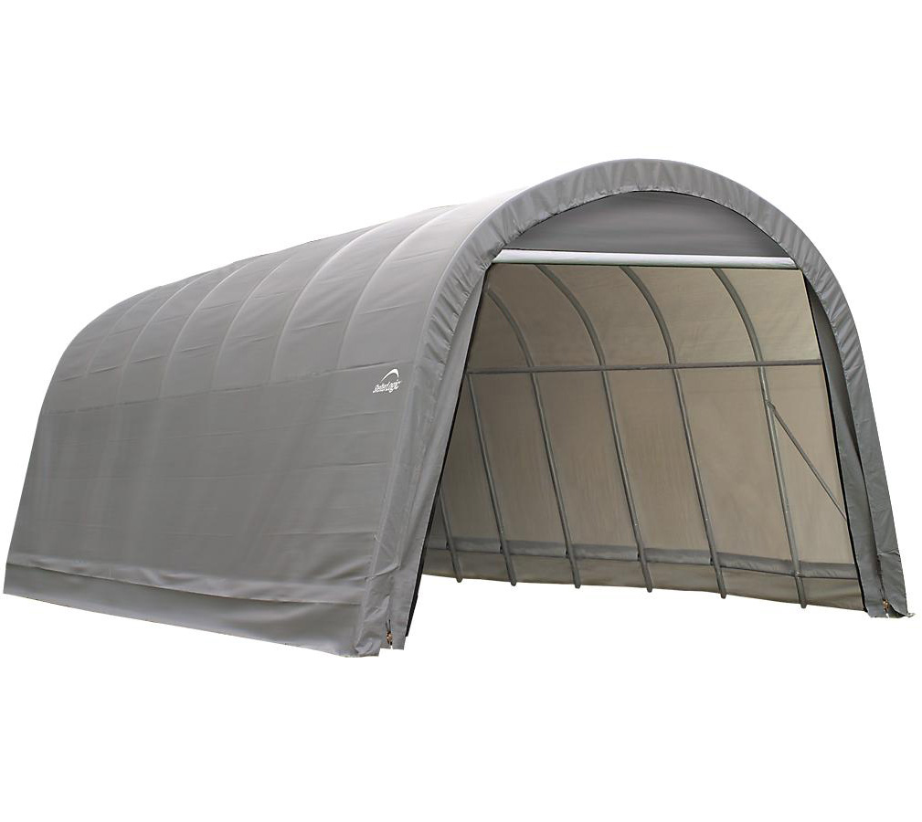 Round Style Shelter, 12'x24'x8', Grey Cover