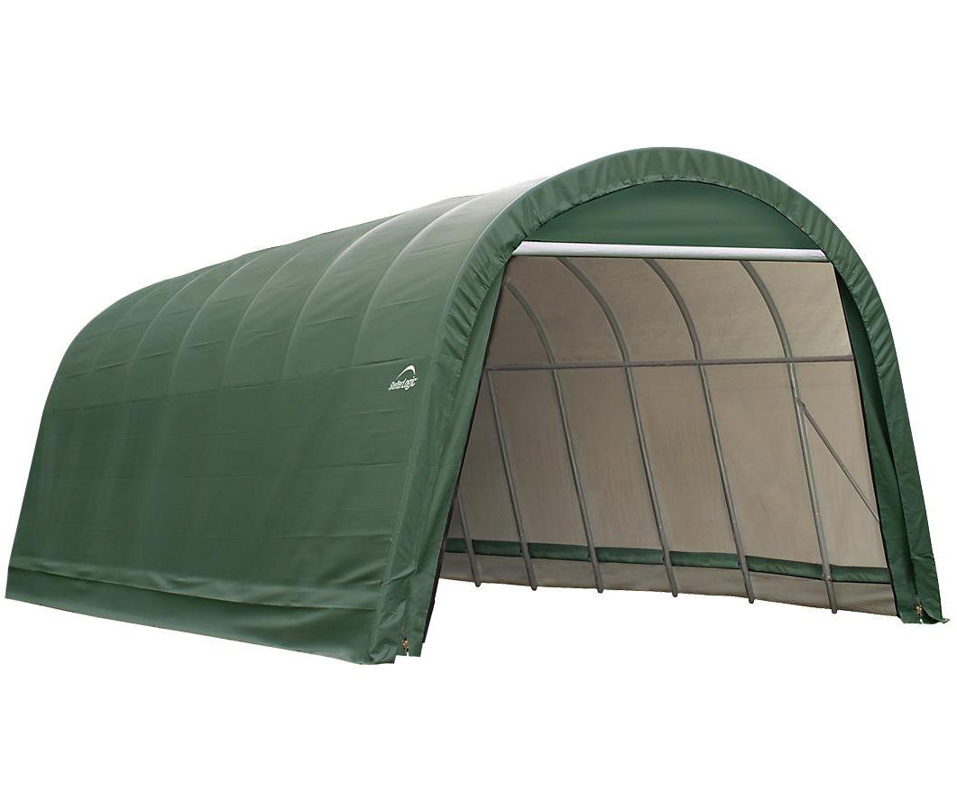 Round Style Shelter, 12'x24'x8', Green Cover