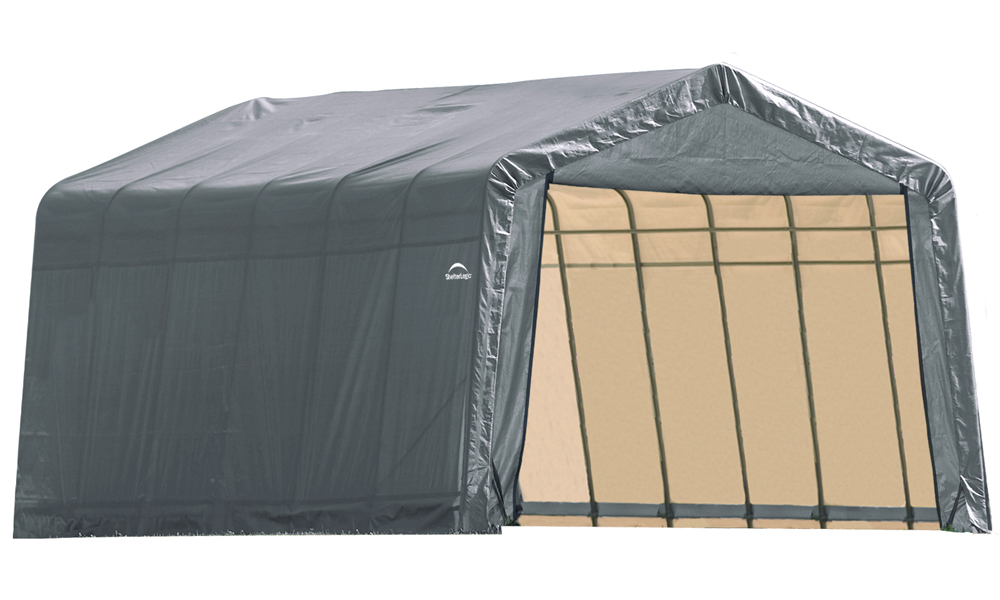 Peak Style Shelter, 12'x24'x8', Grey Cover
