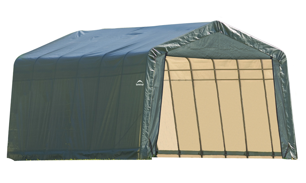 Peak Style Shelter, 12'x24'x8', Green Cover