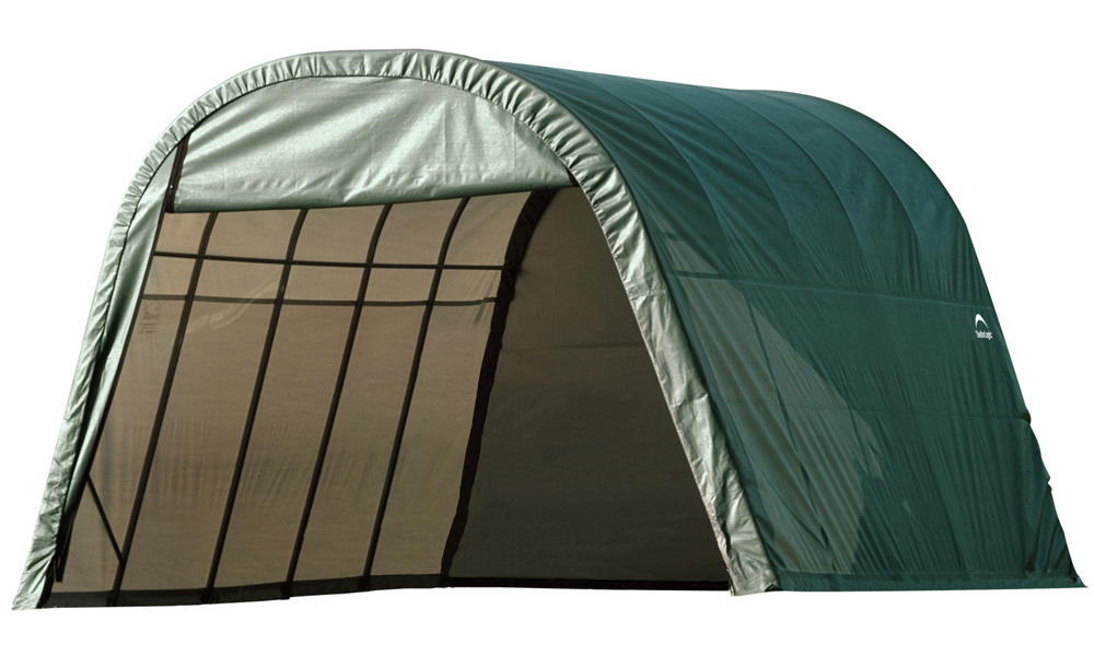 Round Style Shelter, 13'x24'x10', Green Cover
