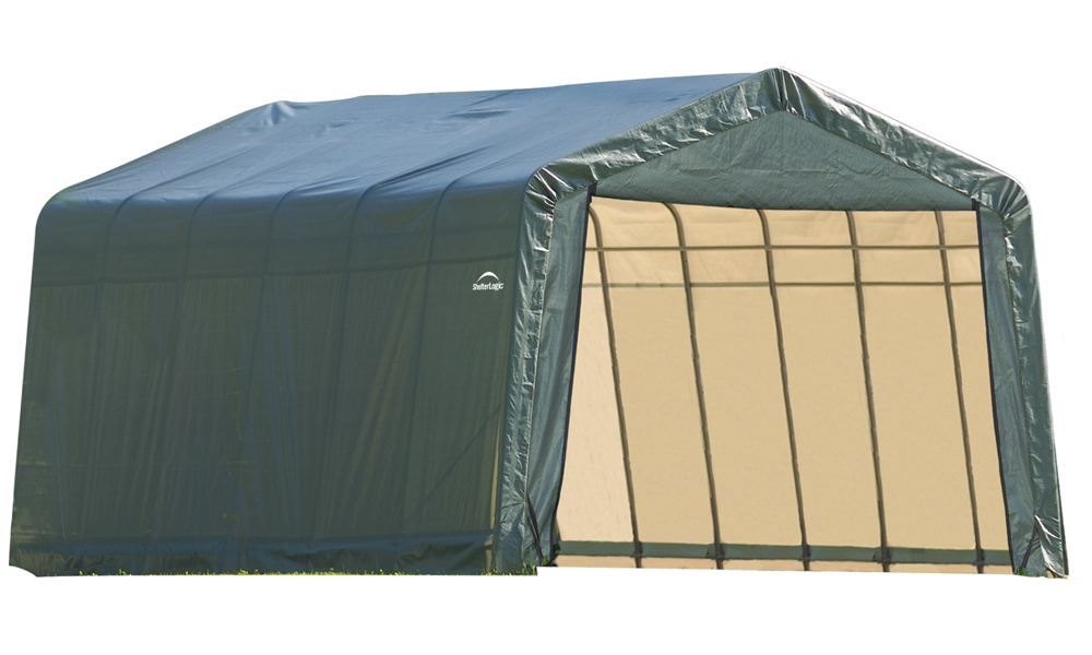 Peak Style Shelter, 13'x24'x10', Green Cover