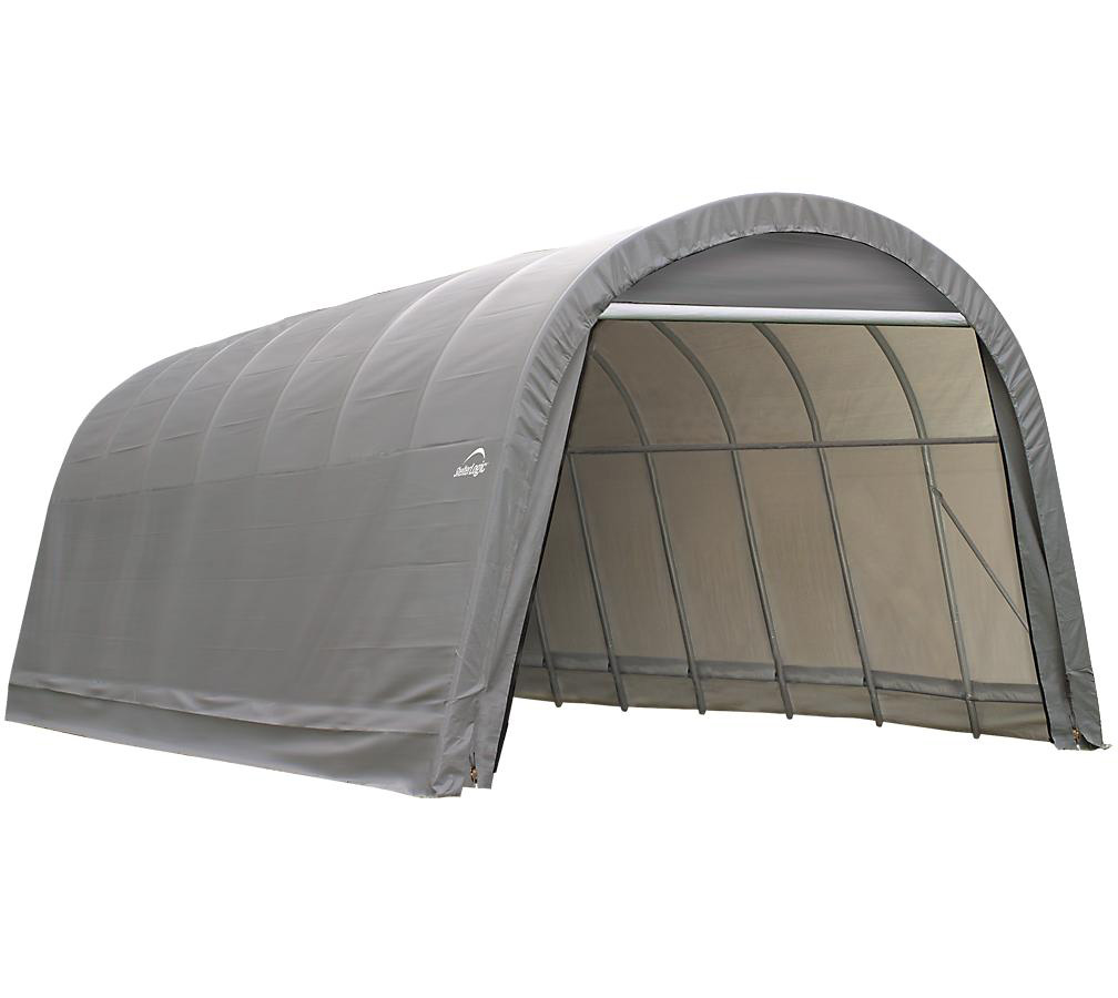 Round Style Shelter, 13'x28'x10', Grey Cover