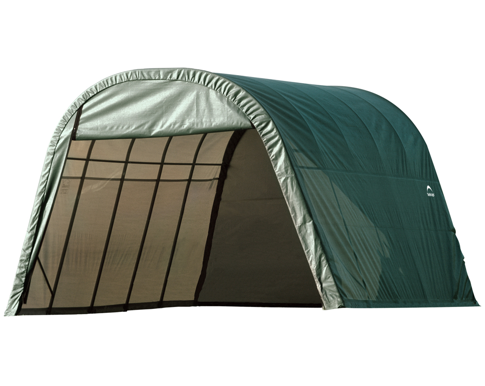 Round Style Shelter, 13'x28'x10', Green Cover