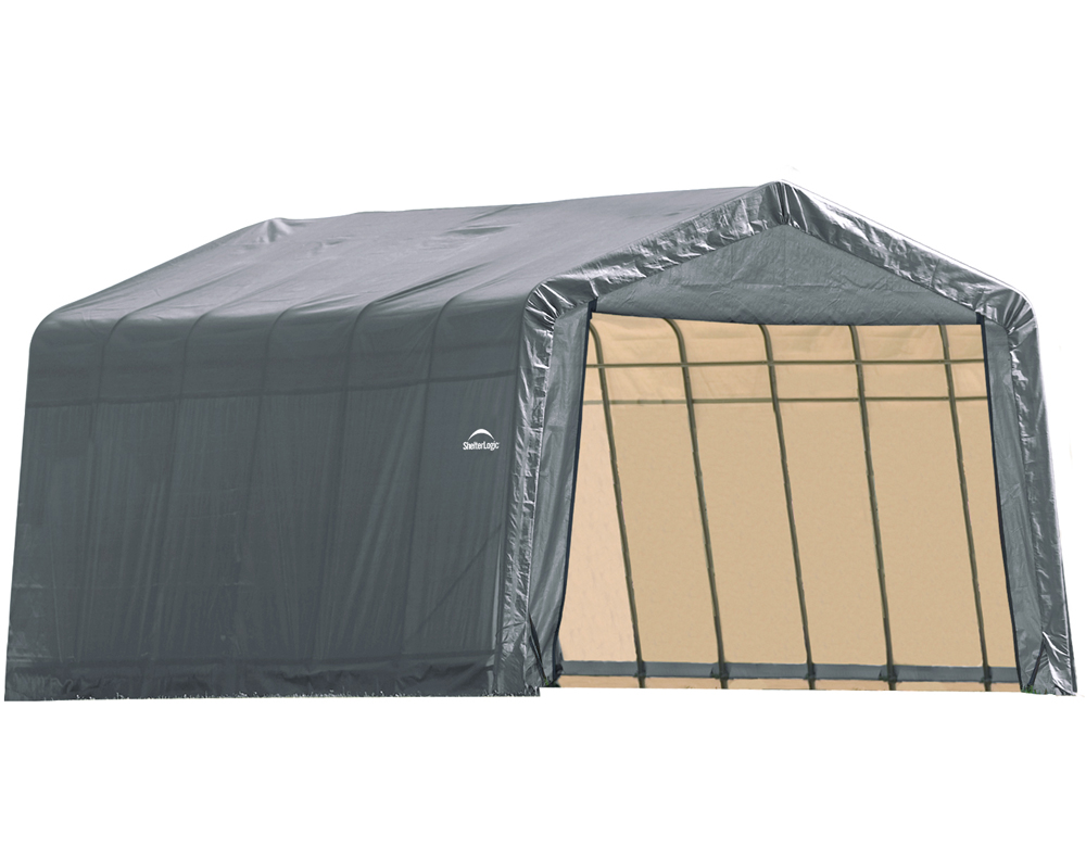 Peak Style Shelter, 13'x28'x10', Grey Cover