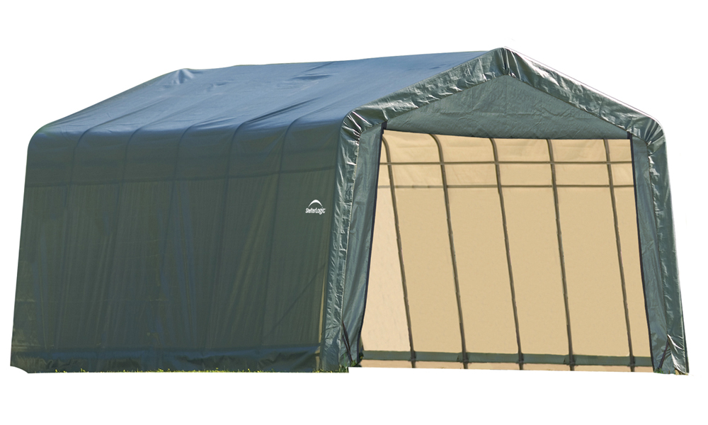 Peak Style Shelter, 13'x28'x10', Green Cover