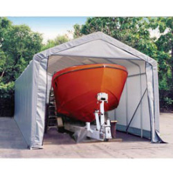 Peak Style Shelter, 15'x28'x12', Grey Cover
