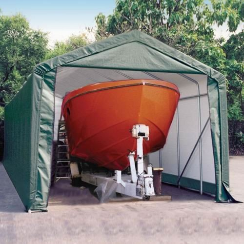 Peak Style Shelter, 15'x28'x12', Green Cover