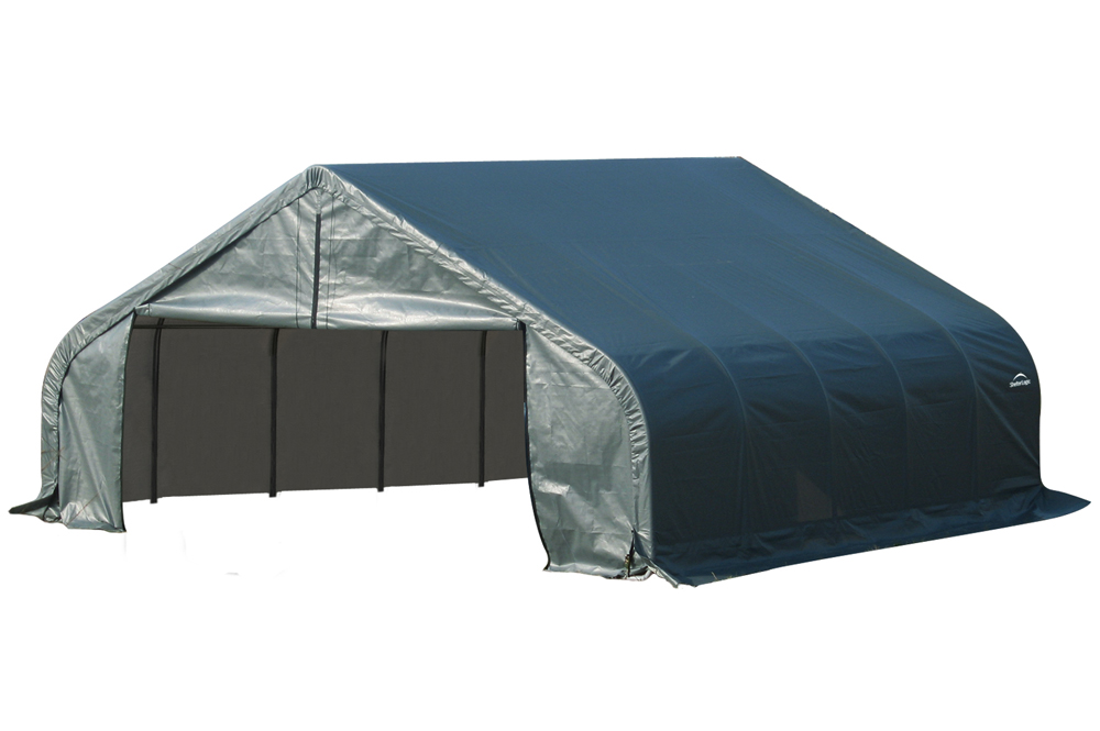 Peak Style Shelter, 22'x20'x11', Green Cover