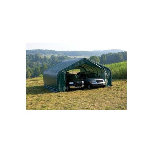 Peak Style Shelter, 22'x24'x13', Green Cover