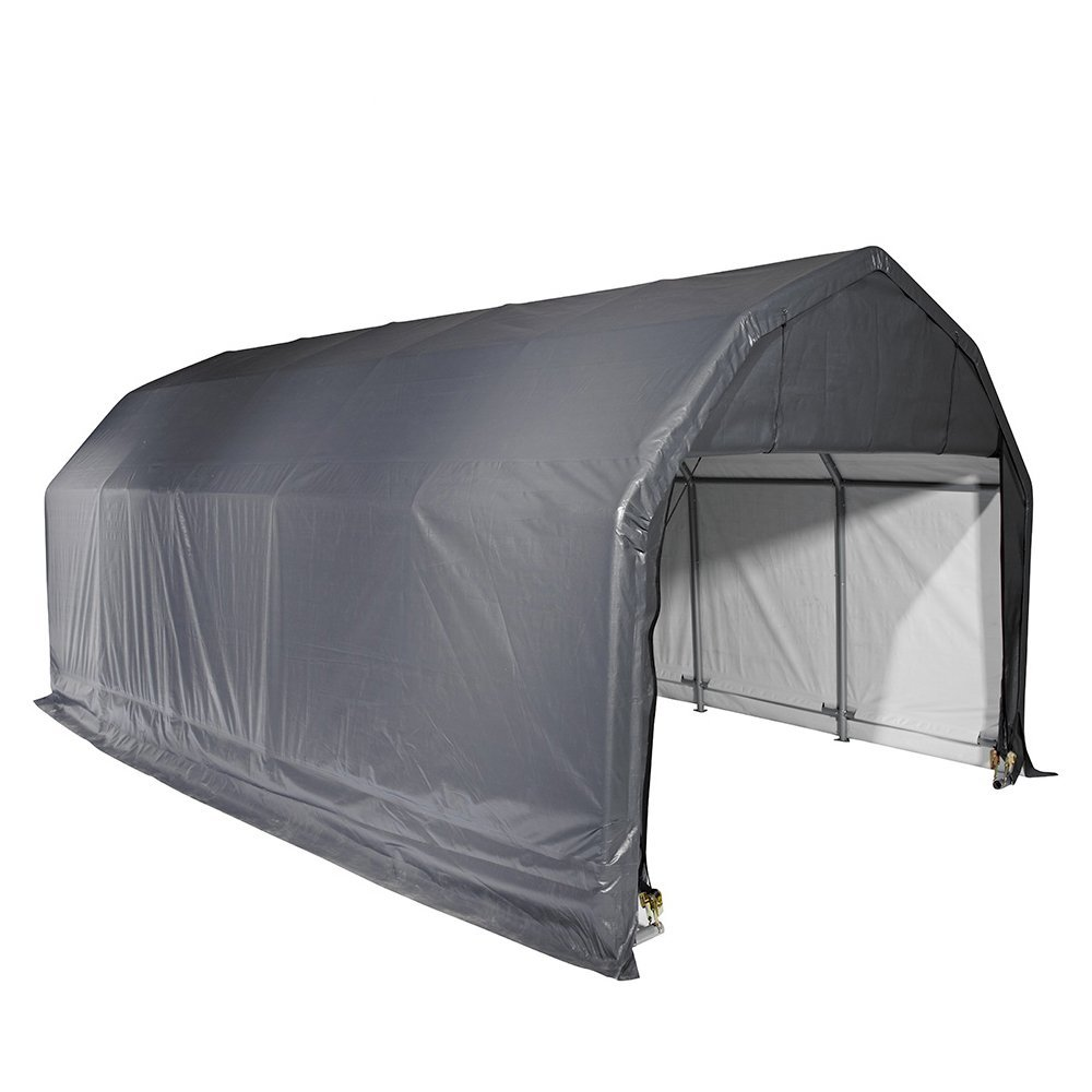 Barn Shelter, 12'x24'x9', Grey Cover