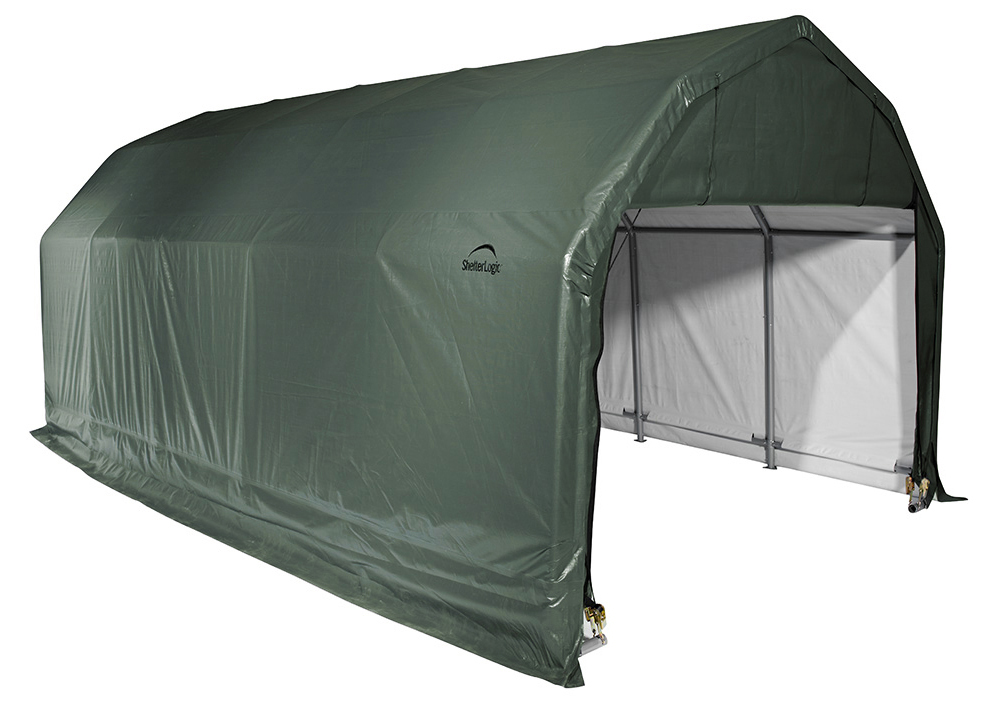 Barn Shelter, 12'x24'x9', Green Cover