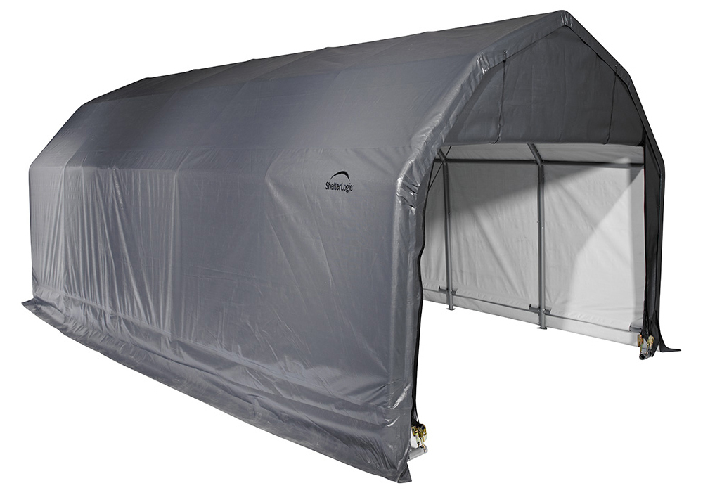 Barn Shelter, 12'x28'x11', Grey Cover