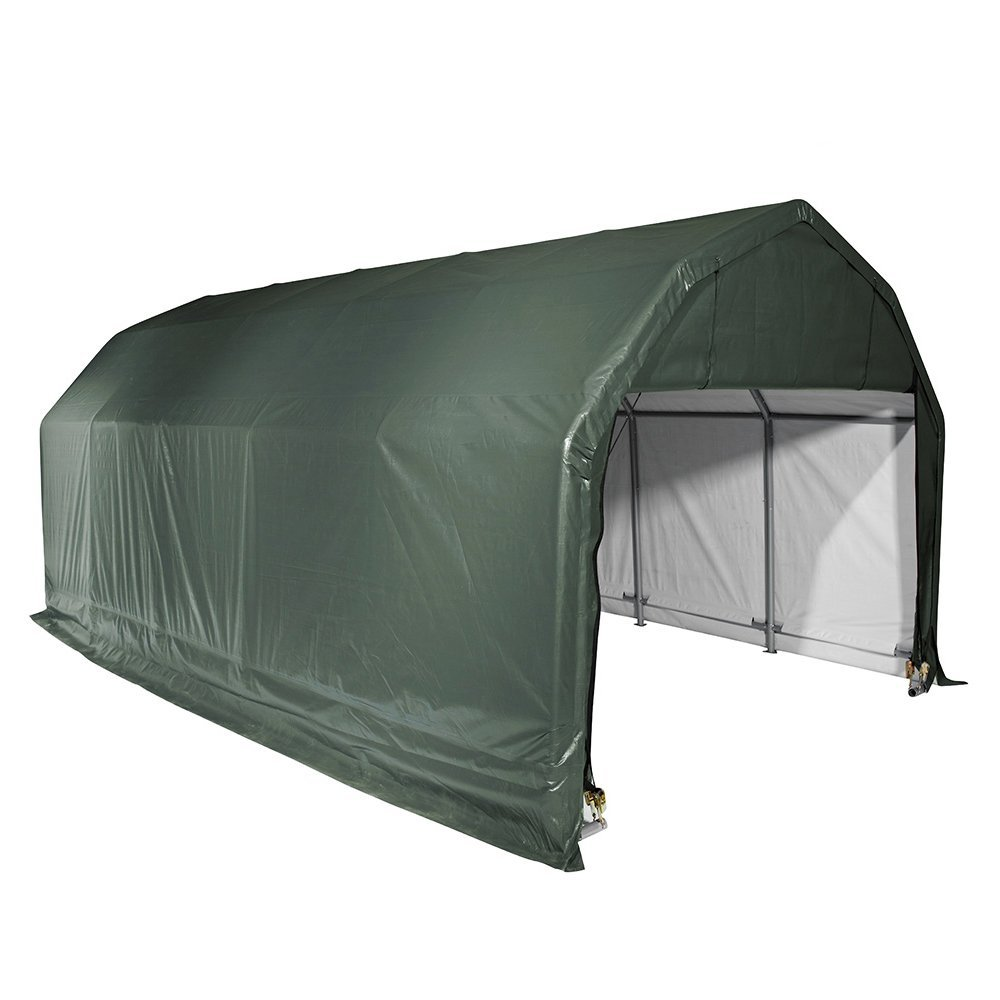 Barn Shelter, 12'x28'x11', Green Cover