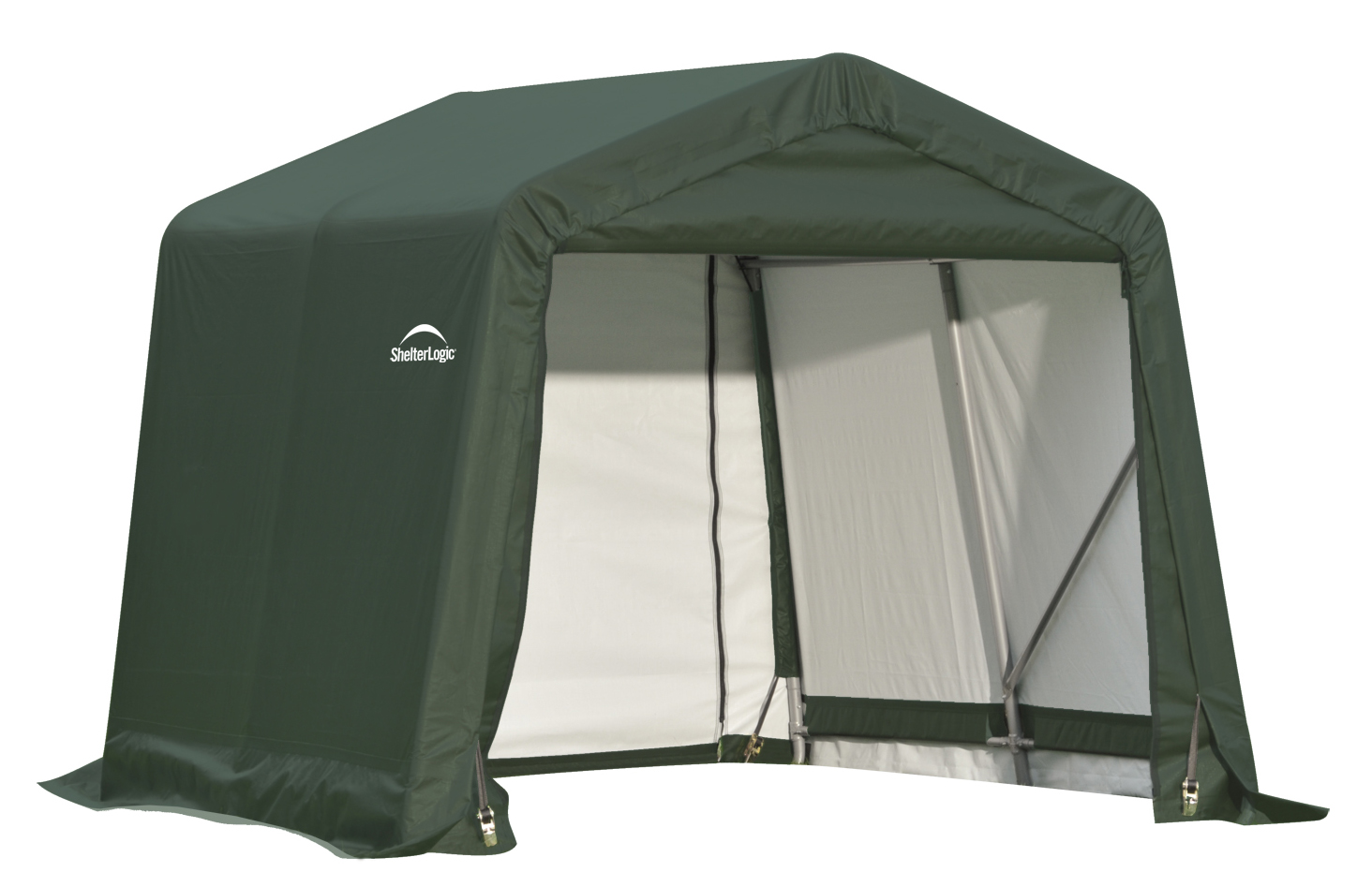 Peak Style Shelter, 8'x8'x8', Green Cover