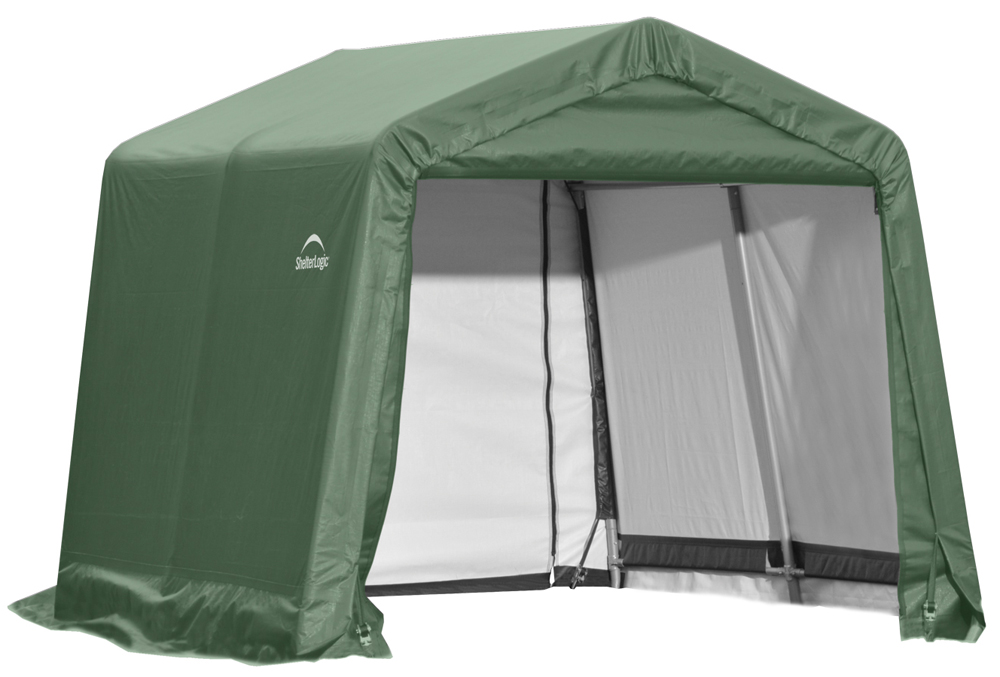 Peak Style Shelter, 10'x8'x8', Green Cover