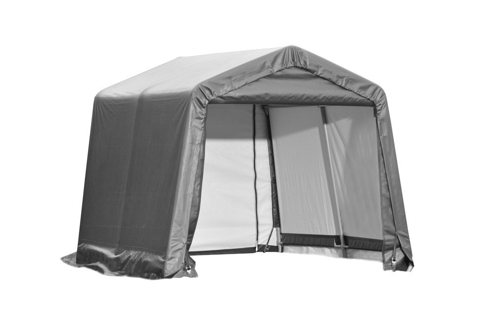 Peak Style Shelter, 10'x12'x8', Grey Cover