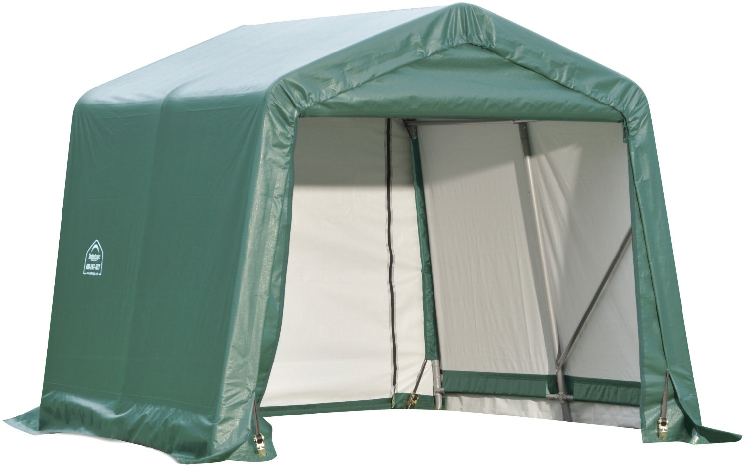 Peak Style Shelter, 10'x16'x8', Green Cover