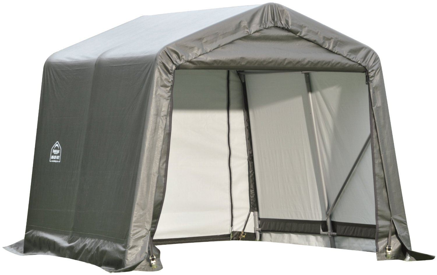 Peak Style Shelter, 11'x8'x10', Grey Cover
