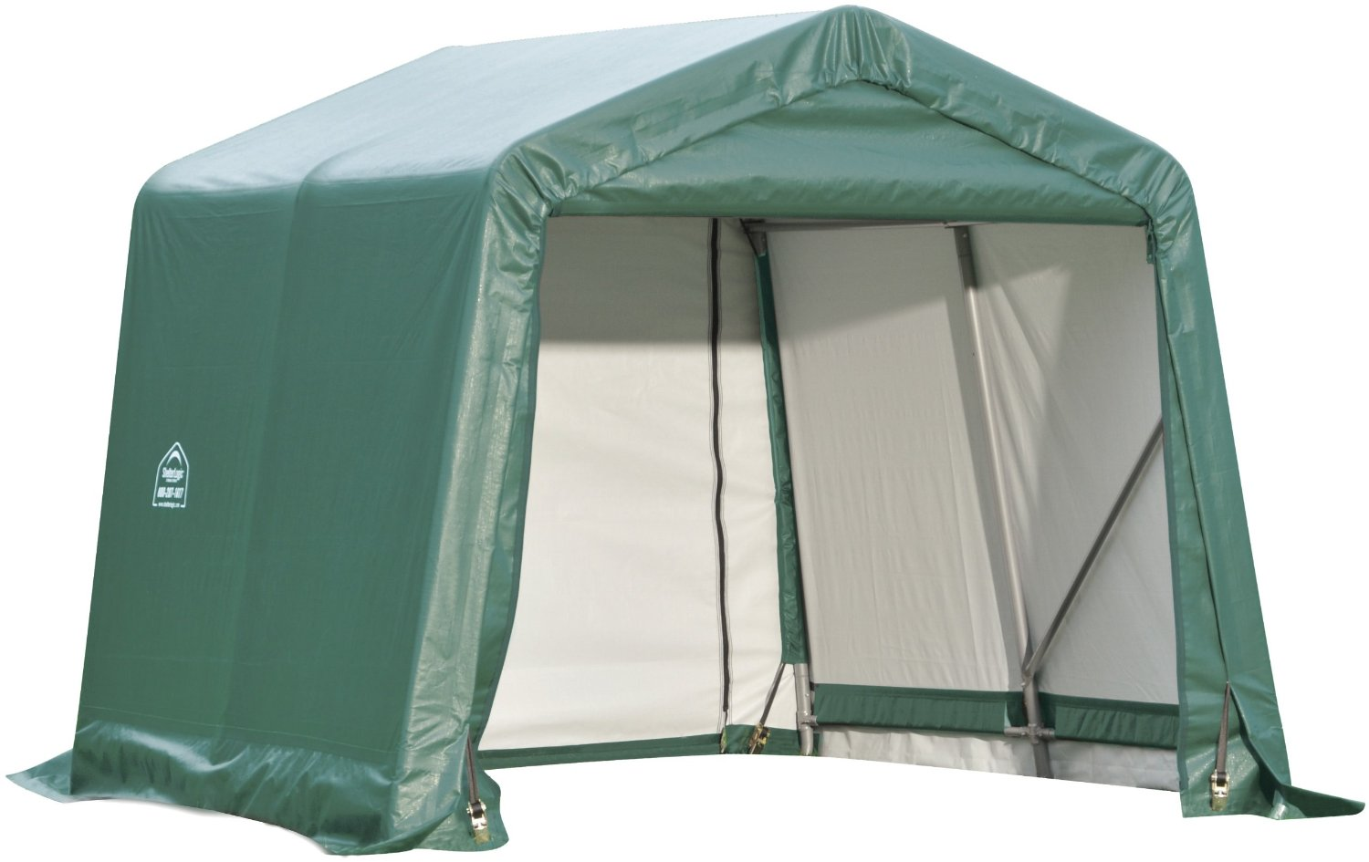 Peak Style Shelter, 11'x12'x10', Green Cover