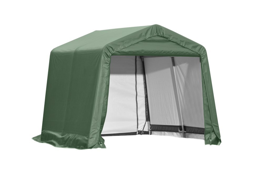 Peak Style Shelter, 11'x16'x10', Green Cover