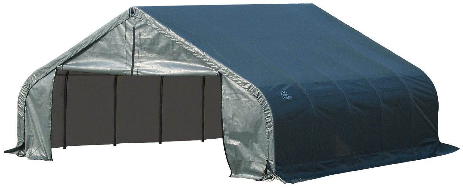 Peak Style Shelter, 18'x20'x12', Green Cover