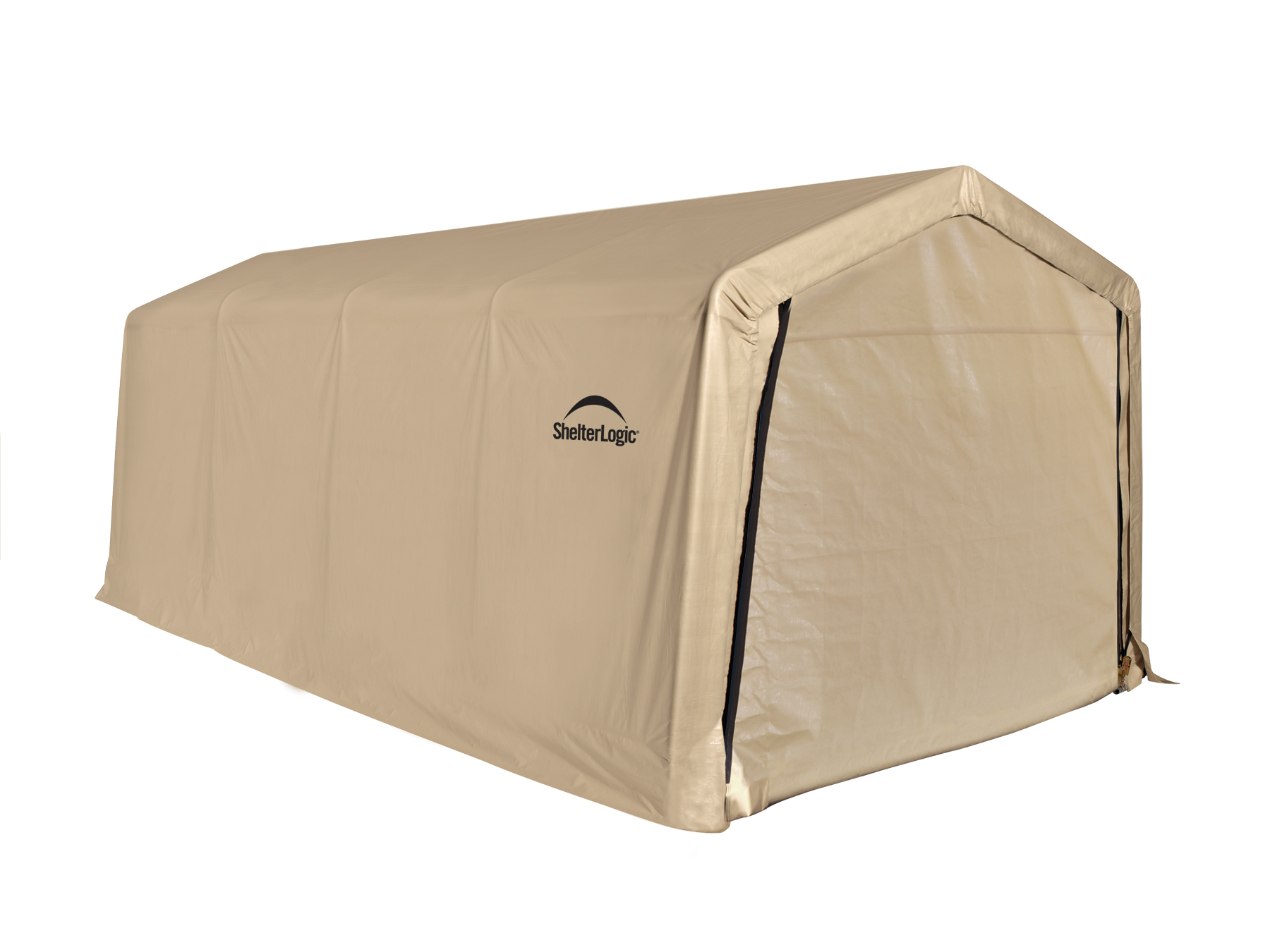 "Auto Shelter, 10'x20', 1-3/8"" 5-Rib Frame, Tan Cover"