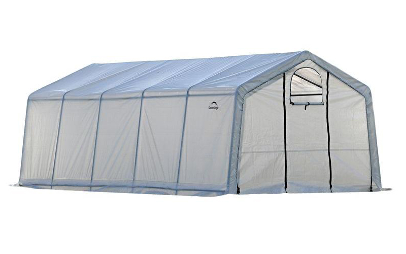 12x20x8ft/ 3,7x6,1x2,4m Greenhouse-in-a-Box Pro (6) Rib Peak Style All Steel Frame; (1) Translucent PE Cover; (2) Double Zippere
