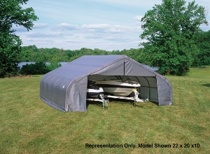 Peak Style Shelter, 10'x8'x8', Grey Cover