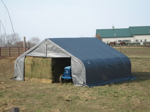 Peak Style Shelter, 22'x24'x11', Grey Cover