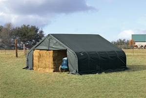 Peak Style Shelter, 22'x24'x11', Green Cover