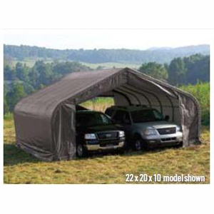 Peak Style Shelter, 22'x28'x11', Green Cover