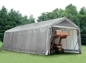Peak Style Shelter, 15'x36'x16', Grey Cover