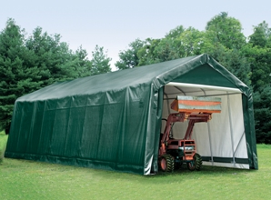 Peak Style Shelter, 15'x36'x16', Green Cover