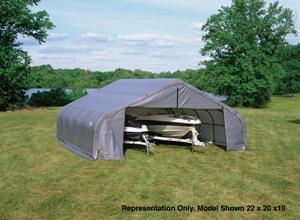 Peak Style Shelter, 22'x20'x13', Grey Cover