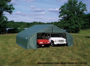 Peak Style Shelter, 22'x20'x13', Green Cover