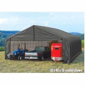 Peak Style Shelter, 28'x24'x16', Green Cover