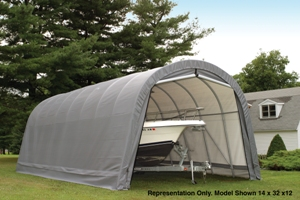 Round Style Shelter, 14'x28'x12', Grey Cover