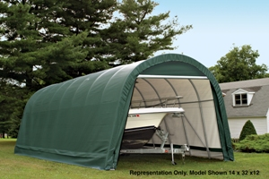 Round Style Shelter, 14'x28'x12', Green Cover