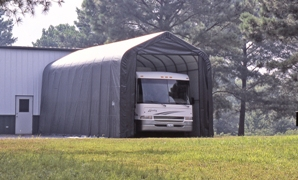 Peak Style Shelter, 15'x40'x16', Grey Cover