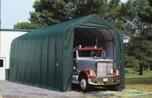 Peak Style Shelter, 15'x40'x16', Green Cover