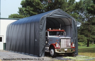 Peak Style Shelter, 15'x44'x16', Grey Cover