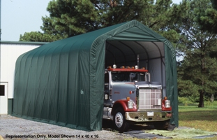 Peak Style Shelter, 15'x44'x16', Green Cover