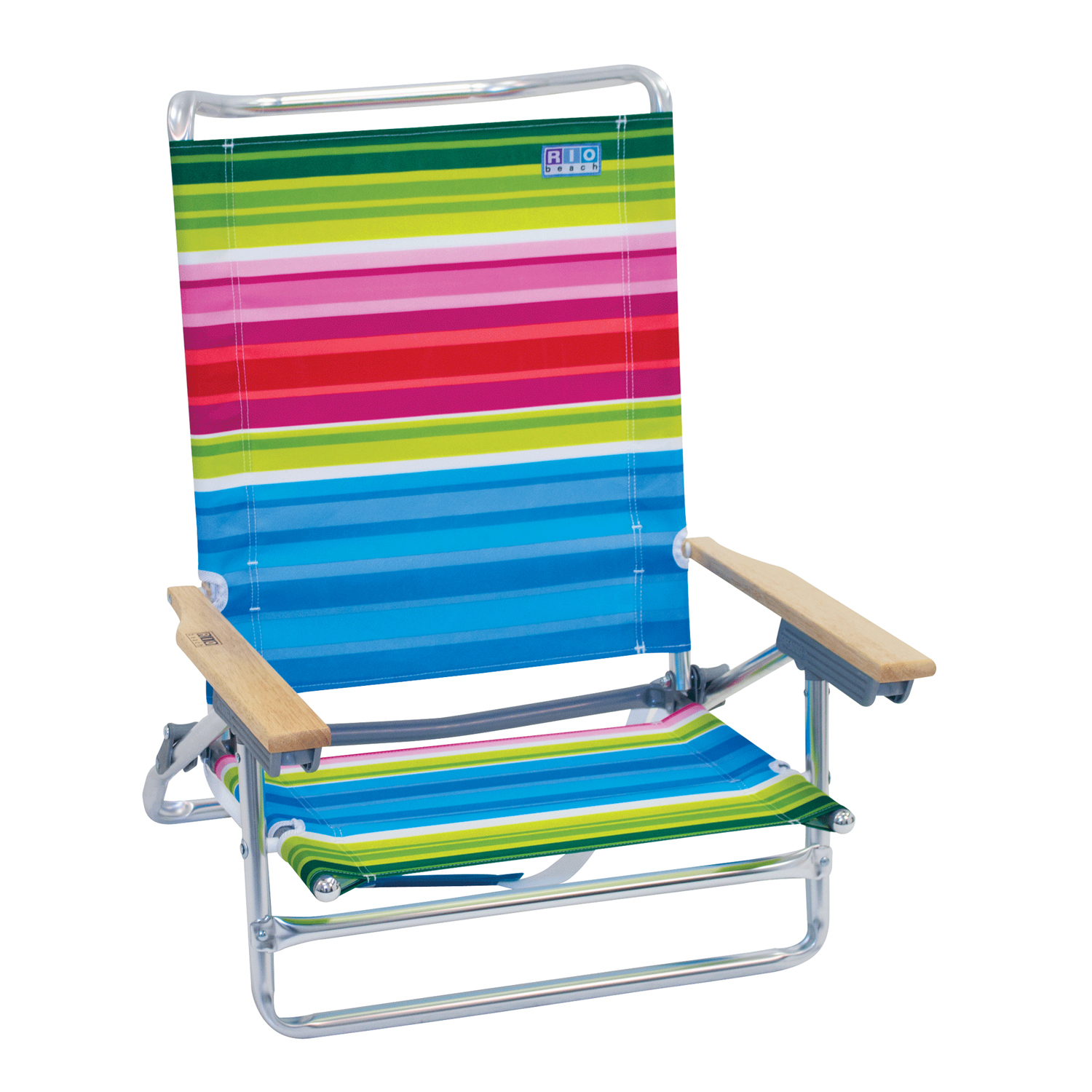 Classic 5-Position Lay Flat Beach Chair - Beach Club Stripes