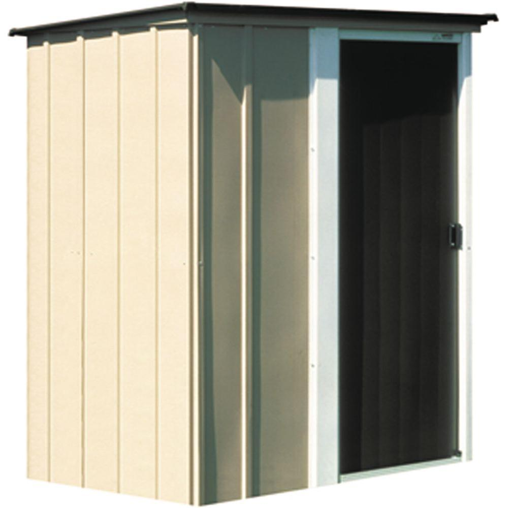 "Brentwood Shed, 5x4, Electro Galvanized Steel, Coffee / Taupe / Eggshell, Lean-to Roof, 67"" Wall Height, Sliding Door"