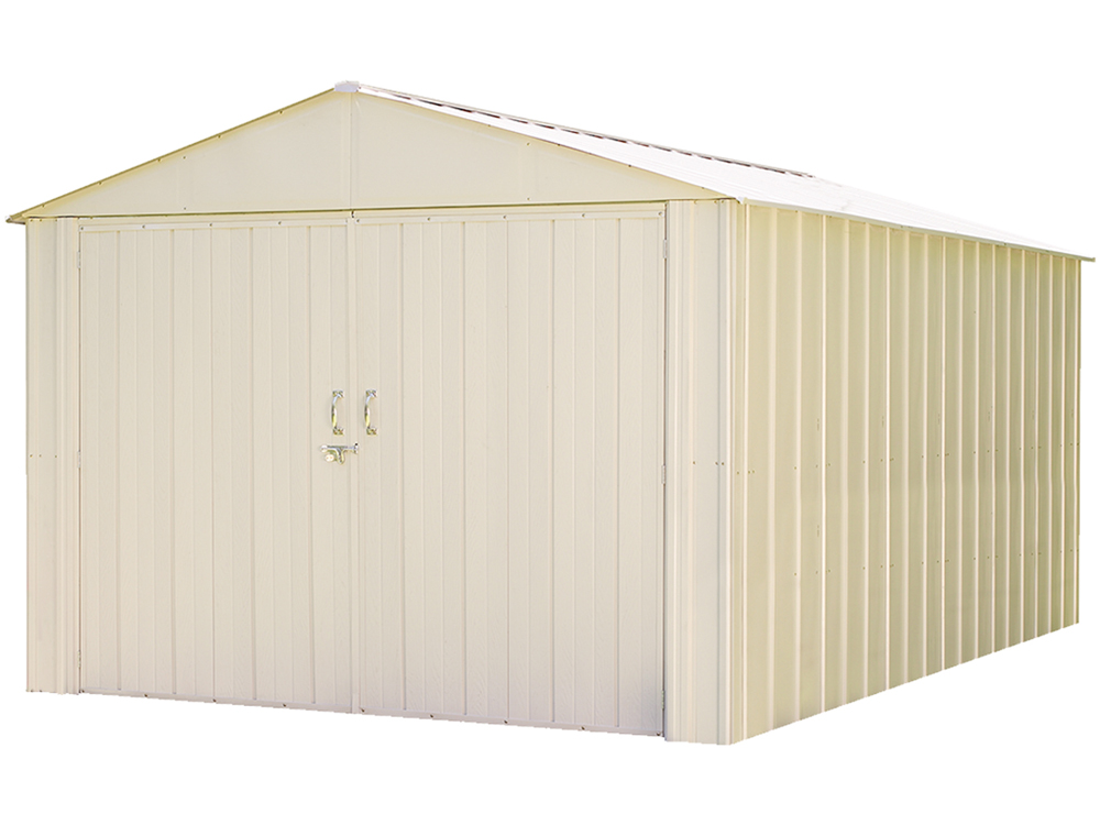 "Commander, 10x10, Hot Dipped Galvanized Steel, Eggshell, High Gable, 71.3"" Wall Height, Extra Wide Swing Doors"