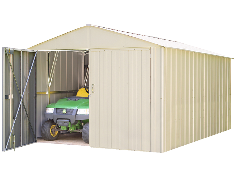 "Commander, 10x15, Hot Dipped Galvanized Steel, Eggshell, High Gable, 71.3"" Wall Height, Extra Wide Swing Doors"